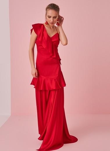 morhipo x dcey Saten Volanlı Elbise Kırmızı